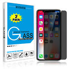 2 Pcs Privacy Anti-Spy Tempered Glass Screen Protector Flim For Apple iPhone X