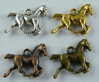 100pcs Silver/Gold/Copper/Bronze Color Horse Charms 19x15mm 17511