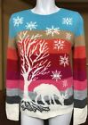 New $89 Talbots Holiday/Christmas Sweater Snowflakes Reindeer Lambswool Blend