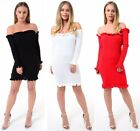 Womens Jumper Off Shoulder Frill Ruffle Bardot Ribbed Knitted Mini Tunic Dress