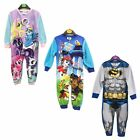 Boys Girls All in One Kids Fleece Cartoon Character Pyjamas Nightwear 1.5-10 Yrs
