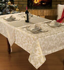 CREAM GLITTER JACQUARD STYLISH CHRISTMAS DINNER PARTY LINEN TABLECLOTHS ,NAPKINS
