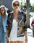 STYLISH VTG IN THE CLEAR FLORAL EMBROIDERED COAT BOMBER TOP DRESS BLOUSE JACKET