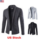 US New Men Cardigan Coat Collarless Jacket Long Slim Fit Top Outwear Blazer Coat