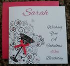 "Handmade Personalised 6"" Square Birthday Card Cocktail Glass Design"