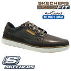 MENS SKECHERS LEATHER CLASSIC FIT MEMORY FOAM WALKING ANKLE TRAINERS SHOES SIZE