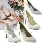 Womens wedding shoes Ladies heels satin bridal bridesmaid white ivory court shoe