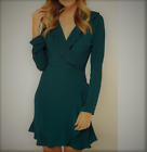 John Zack  Wrap Over  Frill Dress  forest green  Made in  London UK