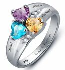 Personalized Sterling Silver 3 Heart Birthstone & 3 Name Mothers Family Ring