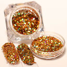 Laser Paillette Nail Art Glitter Sequins Powder Holo Gold Silver Manicure Decor