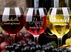 1 x Custom Name Title Wedding Wine Glass Decal Sticker Bridal Party Gift