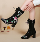 Womens Retro Embroidery Floral Pointed Toe Mid Calf Riding Boots Zip Shoes A843
