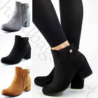 New Ankle Boots Mid Block Heel Zip Comfy Casual Womens Ladies Shoes Sizes 3-8