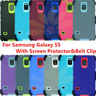 For Samsung Galaxy S5 Rugged Defender Case Full Cover with Screen &B elt Clip