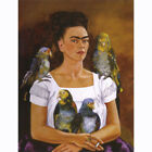 HD Canvas Painted Oil Painting Wall decor Me and My Parrots by Kahlo Frida