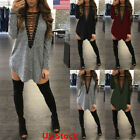 US Womens Sexy V Neck Long Sleeve Bandage Clubwear Party Prom Mini T-Shirt Dress
