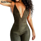 Women Party Overalls Bodycon Jumpsuit Deep V Neck Sexy Cross Strappy Bodysuits