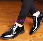 Pieced Shiny Patent Mens Dress Business Shoes British Lace Up Oxfords Wedding