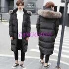 Plus Size Korean Mens Faux Fur Hooded Long Down Coat Winter Puffer Jacket Padded