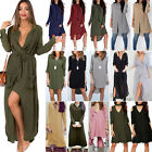 Women Casual Long Sleeve Maxi Dress Ladies Loose Long Tops B