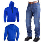 Men's Motorbike Hoodie & Motorcycle Racing Protective Denim Jeans Pants CE