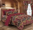 12 PC  BURGUNDY  WOODS  COMFORTER,SHEET AND CURTAIN  SET.   16 COLORS image