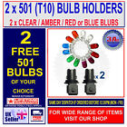501 T10 SIDELIGHT CAR BULB HOLDER TWIST KNOT & 2 FREE 501 T 10 SIDE LIGHT BULBS