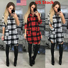 US Womens Check Shirt Mini Dress Ladies Long Sleeve Plaid Romper Dress Size S-XL