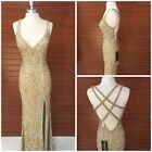 NWT PRIMAVERA COUTURE 1813 OPEN BACK CRISS CROSS BEADED CHAMPAGENE/GOLD $599