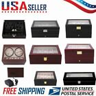 Leather/Wood Automatic Rotation 10/12/20 Watch Winder Storage Case Display Box G
