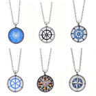 Retro Compass Cabochon Glass Pendant Necklace Tibetan Silver Chain Unisex Gift