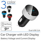 Dual USB Car Charger with LED Display Adapter splitter for iPhone 6 Samsung 3.1A