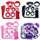 7Pc Set Slave Game Restraint Handcuff Collar EyeMask Whip Shackle Mouth Ball Toy
