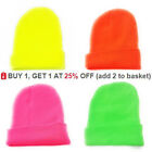 Neon Beanie Hat Mens Ladies Winter Woolly Slouch Ski Knitted Unisex Hat Turn Up