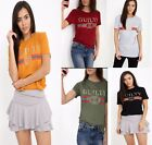 New Women Ladies Printed Stripe Guilty Short Sleeve Top T shirt Contrast UK size