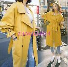 New Vogue Womens Lapel Blouson Waistband Windbreaker Double Breasted Trench Coat