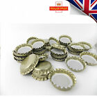 100 Gold Crown Caps Capping 26mm Home Brew BEER BOTTLING GLASS & PET -ᴓ26mm UK