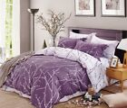 200TC 100% Cotton Duvet Cover Set Purple White Modern Printed Reversible Design image