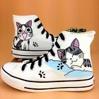 Women Men Hand-painted Cute Cat Canvas Shoes Boys Girls Sweet Comfy Flats Shoes