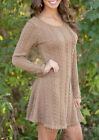 Womens Winter Long Sleeve Jumper Tops Ladies Slim Knitted Sweater Mini Dress US