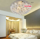 LED Clear Crystal Chandelier Round Ceiling Shade Living Pendant Lamp Fixtures
