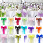 """16Pcs Organza 8""""x108"""" Chair Cover Sash Bow Extra Wide Wedding Party Banquet Deco"""