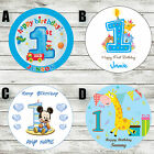 1ST BIRTHDAY BOY ROUND EDIBLE BIRTHDAY CAKE TOPPER DECORATION PERSONALISED