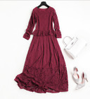 Women Winter Sexy Lace BoatNeck Long Sleeve Full Length Slim Falbala Party Dress