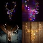 Reindeer Stag Head 80 LED Light Up Warm White/Multi Colour Xmas Wall Decoration