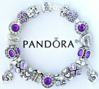 Authentic Pandora Silver Charm Bracelet With European Heart Purple Charms Beads