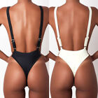Women Solid Color Backless One Piece Bikini Padded Monokini Swimsuit Swimwear