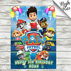 PAW PATROL RECTANGLE EDIBLE BIRTHDAY CAKE TOPPER DECORATION PERSONALISED