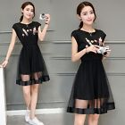 Women Party Dress 2017 High Fashion Imported Boutique Short Sleeves A-Word Dress