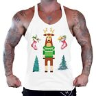 Men's Christmas Reindeer Workout Stringer Tank Top Holiday Ugly Sweater B1146